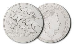 2020 Australia $1 1-oz Silver Red Kangaroo Frosted BU