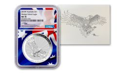 2019 Australia $1 1-oz Silver Wedge Tailed Eagle NGC MS70 w/Flag Core & Mercanti Signed Print