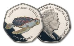 2019 BIOT 50-Pence 8-gm CuNi Loggerhead Turtle Colorized Proof