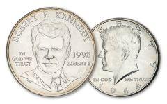 2PC 1964/1998 50 CENT-$1 SILVER KENNEDY BU SET