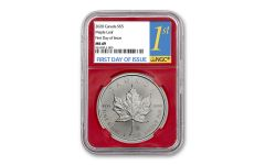 2020 Canada $5 1-oz Silver Maple Leaf NGC MS69 First Day of Issue w/Red Core