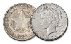 1932-1934 Cuban Peso & 1934-P Peace Dollar VF-XF 2-pc Set