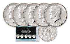 5PC 1965-1969 50 CENT KENNEDY 40% SILVER SET