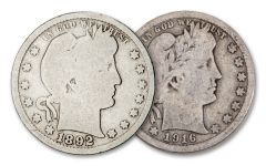 2PC 1892 AND 1916 25 CENT BARBER FIRST-LAST SET