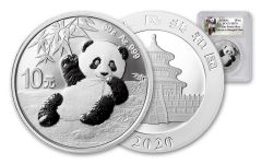 CHINA 2020 30G SLV PANDA PCGS MS70 SHANGHAI