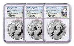 2020 China 30-gm Silver Panda NGC MS70 First Releases 3-Mint Signature Set