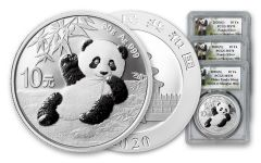2020 China 30-gm Silver Panda PCGS MS70 3-Mint Set