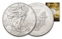 2020 $1 1-oz American Silver Eagle BU Congratulations Card