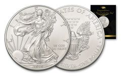 2020 $1 1-oz American Silver Eagle BU Graduation Card