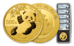 5PC CHINA 2020 GLD PANDA NGCMS70 FR SHY LINA BC