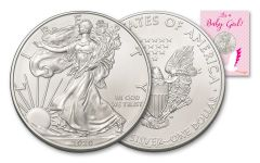 2020 $1 1-oz American Silver Eagle BU Baby Girl Card