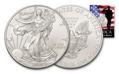 2020 $1 1-oz American Silver Eagle BU Home of the Brave Card