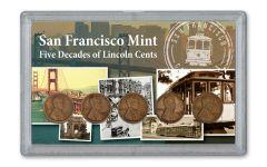 5PC 1910-1955-S 1 CENT LINCOLN DECADES FINE 3X5