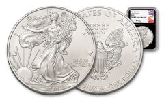 2020 $1 1-oz Silver American Eagle NGC MS70 First Day of Issue w/Black Core & Mercanti Signature