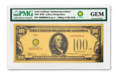 Smithsonian Series 1934 $100 24K Gold Certificate PMG Gem