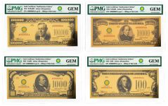 Smithsonian Series 1934 24K Gold Certificates PMG Gem 4-pc Set