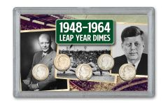 5PC 1912-28 10 CENT BARBER/MERC LEAP YEAR SET F-VF