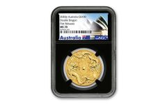 2020 Australia $100 1-oz Gold Double Dragon NGC MS70 First Releases w/Black Core