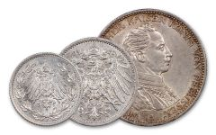 1914-1918 German Empire Silver Mark 3-pc Set