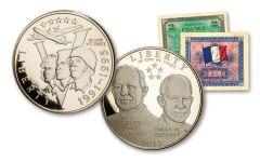 World War II Five-Star Generals Half Dollar 2-pc Proof Set w/Allied Note
