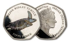 2019 BIOT 50-Pence 8-gm CuNi Olive Ridley Turtle Colorized Proof
