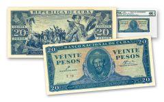 CUBA 1961 20 PESOS PMG 66EPQ USA CIA COUNTERFEIT