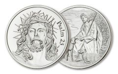 2-OZ SILVER PSALM 23 CHRIST - 50MM