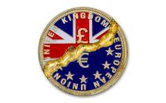 2020 Liberia $1 Brass Break-It Brexit Proof
