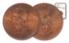 1944-S Philippines Bronze Centavo USA NGC MS65 RD