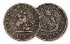 1857 Canada Copper Penny Token Circulated