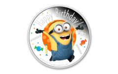 2020 Niue $2 1-oz Silver Niue Minions™ Happy Birthday Colorized Proof