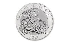 2020 Great Britain £10 10-oz Silver Valiant Saint George BU
