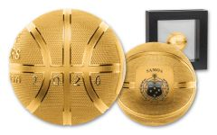 2020 Samoa $5 1-oz Silver Basketball Sphere Proof w/Gold Plating