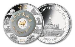 2021 Laos 2000 Kip 2-oz Silver Lunar Ox Proof w/Jade Ring & Gold Plating