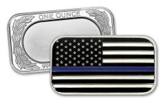 2020 1-oz Silver Police Enameled Blue Line Flag Bar