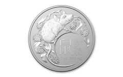 AUS 2020 $1 1-OZ SILVER LUNAR YEAR OF RAT BU