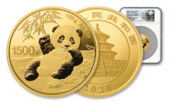 CHINA 2020 100G GOLD PANDA NGC PF70 FR LINA SHY