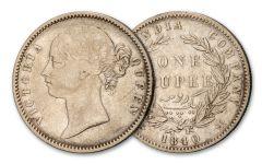 1840 British India Silver Victoria Rupee VF