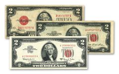 1928-1963 $2 Legal Tender Red Seal 3-pc Set F-VF