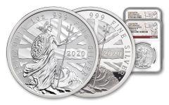 2PC GB 2020 1-OZ SLV BRITANNIA PF/REV NGCPF70UC FR