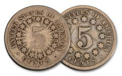 1866–1883 5 Cents Shield Rays & No Rays 2-pc Set VG–F