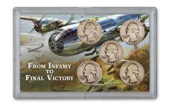 1941–1945-D Silver Washington Quarter 5-pc Set F–VF w/1940–1945 German 1 Reichspfennig