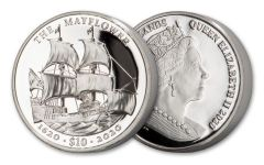 2020 British Virgin Islands $10 2-oz Silver Mayflower 400th Anniversary Ultra High Relief Proof