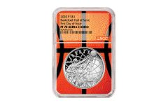 2020-P $1 Silver Basketball Hall of Fame NGC PF70 First Day of Issue w/Basketball Core