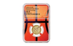 2020-W $5 Gold Basketball Hall of Fame NGC MS70 First Day of Issue w/Basketball Core