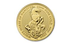 2020 Great Britain £25 1/4-oz Gold Queen's Beasts White Horse of Hanover BU