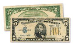 1935 $5 Silver Certificate North Africa Fine+