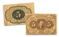 1862-1863 5 CENT FRACTIONAL NOTE 1ST ISSUE FINE+
