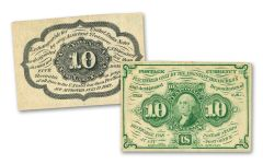 1862-1863 10 CENT FRACTIONAL NOTE 1ST ISSUE FINE+