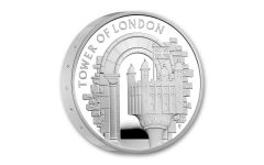 2020 Great Britain £5 56.56-GM Silver Tower of London The White Tower Piedfort Proof